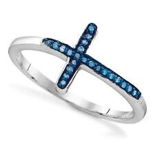 So Affordable! 100% .925 Sterling Silver Blue Diamond Sideways Cross Ring .05ct