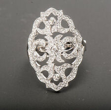 Authentic SIMON G 18k White Gold Diamond Filigree Ring NR477 0.55 carat
