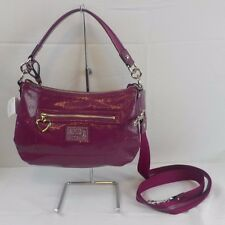 New NWT COACH Daisy Liquid Gloss Purse Bag Crossbody Berry Silver Leather 20017