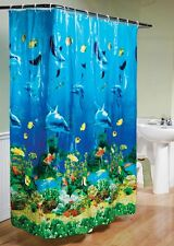 Tropical Beach Dolphin Sea Fish Shower Curtain Blue Ocean Theme With Hooks Ring