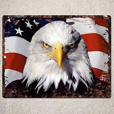 PP0206 Rust Vintage America Eagle Flag Sign Home Shop Room Wall Interior Decor