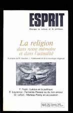 ESPRIT 10.1985 La religion dans notre mémoire, Merleau-Ponty, Pessoa,