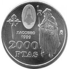 España Juan Carlos 2000 Pesetas 1999 de plata Xacobeo