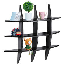 Wood and Black Finish Sturdy Cross Floating Wall Shelf for Home Decor US