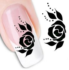 Nail Art Sticker Water Decals Transfer Stickers Flowers black Rose (DX1093)