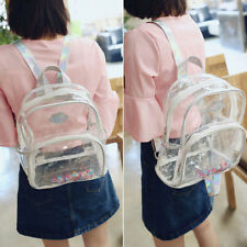 Women Clear See Through Tote Transparent Backpack Bag Girls Book Travel Rucksack