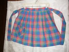 Vintage Apron Half Size Waist Tie  Blue,Red,&Green Plaid Pocket Nice!