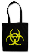 BLACK BIOHAZARD VINTAGE SYMBOL Hipster Shopping Cotton Bag - Goth TBBT Cyber