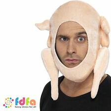 FUNNY STUFFED CHRISTMAS TURKEY HAT ladies mens novelty xmas fancy dress