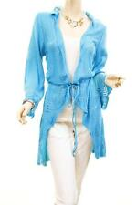 Women Comfy Crochet Knitted Tunic Drawstring Cardigan Sweater Blouse Top S M L