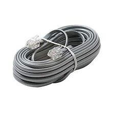 Eagle 15' FT Phone Cord Cable 4 Wire Silver Satin Modular RJ11 Plug Ends 6P4C