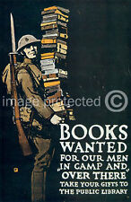 Books Wanted Our Men WWi US Army Vintage 11x17 Poster