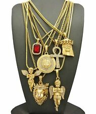 Hip Hop Ruby, 2 Angels, Jesus, Lion, Medusa, Ankh Pendant 7 Necklace Set RC1835G
