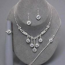 Prom bridal party diamante necklace bracelet earring ring set sparkly bling 0298