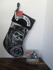 SOA Christmas Ornament Set 2 Skull Grim Reaper  & Sons of Anarchy Stocking NEW