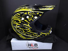 Typhoon Dirt Bike Helmet with cloth cover Large 59-60 Motocross Black/Yellow