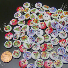 80 15mm WOODEN BUTTONS CHRISTMAS SEWING BUTTONS SCRAPBOOKING CARD CRAFT