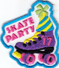 """""""SKATE PARTY"""" -  Iron On Embroidered Patch - SPORTS - SKATER - ROLLER SKATES"""