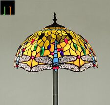 """Floor Lamp Tiffany 16"""" Dragonfly Style Stained Glass Light Art Decor Leadlight"""