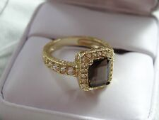 Genuine Citrine and Sapphire Ring in heavy 14k On Sterling Silver Size 7