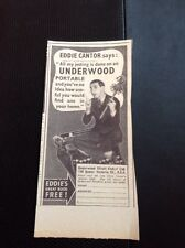 49400 1935 Ephemera Advert Eddie Cantor Underwood Portable Typewriter