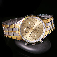 Fashion Men's Luxury Date Gold Dial Stainless Steel Analog Quartz Wrist Watches