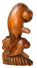 Manatee Sea Cow Hand Carved Wooden Statue Sculpture Nautical Tropical Decor Art