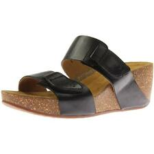 Clarks 2906 Womens Temira East Black Wedge Sandals Shoes 9 Medium (B,M) BHFO