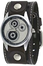 Nemesis STH112BB Men'sThe Machinist Wide Brown Leather Band Faux Gear Dial Watch