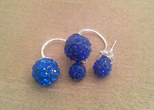 925 Sterling Silver Crystal 12mm Shamballa Ball Double Stud Earrings 3 Colours
