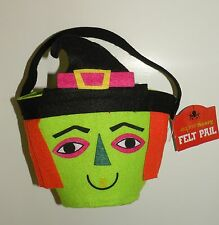NEW! HALLOWEEN FELT PAIL Super Scary Green Witch w/ Hat Trick or Treat Bucket