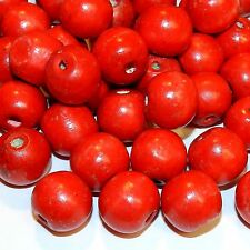 WL751p Red 20mm Round Large Wood Beads 250-Grams