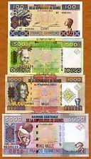 Guinea SET 100;500;1000;5000 Francs 2006-2012, P-35-38-39-43 UNC