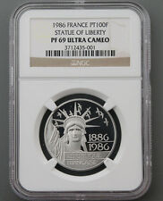 1986 FRANCE 100 FRANCS PROOF PLATINUM Coin STATUE OF LIBERTY NGC PF69 Ultra Cam