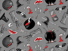 Fat Quarter Oddities Halloween Cotton Quilting Fabric Elizabeths Studio 4406