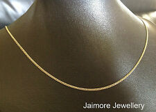 "1mm Necklace CURB 9K Aust Gold & 925 Silver CHAIN 20""/50cm"