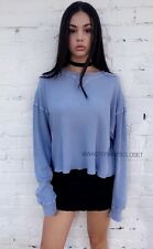 Last one! Brandy Melville blue Cropped long sleeve LAILA thermal top NWT