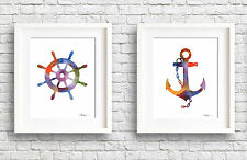 Set of 2 Ship's Wheel & Anchor Watercolor Paintings Art Prints by Artist DJR