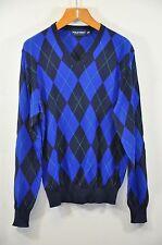 """Men's Ralph Lauren Golf, Cotton Argyle V-Neck Sweater. Sz.M. Armpit 22"""", $245."""