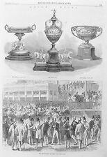 Old antique print Course Hippique Ascot Coupe paris trophées ring Gravure C1866