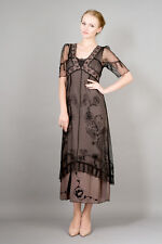 NEW NWT Nataya Plus Size Vintage Titanic Tea Party Black/Coco Dress Slip Set 1X