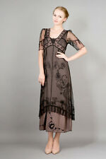 NEW NWT Nataya Plus Size Vintage Titanic Tea Party Black/Coco Dress Slip Set 2X