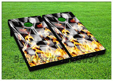 VINYL WRAPS Cornhole Boards DECALS Racing Fire Flag Bag Toss Game Stickers 150