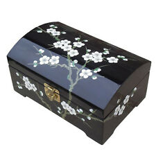 BLACK LACQUER JEWELLERY BOX WITH CHINESE LOCK, BLOSSOM