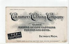 CONSUMERS CLOTHING COMPANY, Detroit, Michigan trade card (C24241)