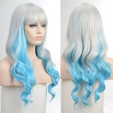 Silver Blue Cosplay Gradient Ombre Hair Lady Long Wavy Curly Neat Bang Anime Wig