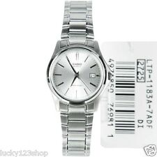 LTP-1183A-7A White Casio Ladies Watches Stainless Steel Band Date Display New