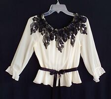 Adrianna Papell Cream Silk Chiffon Top with Black Lace and Ribbon Size M