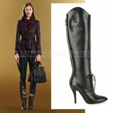 $1,550 GUCCI BOOTS ELIZABETH HIGH HEEL BLACK LEATHER RIDING LACE-UP 34 / 4