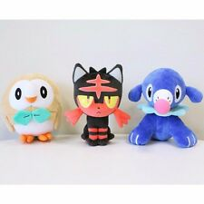 Anime Pokemon Center Rowlet Litten Popplio Plush Doll Set Of 3 Sun Moon Toy